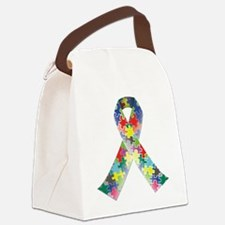 Autism Awareness Ribbon Canvas Lunch Bag