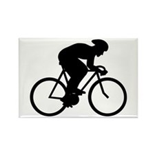 Cyclist Silhouette. Rectangle Magnet