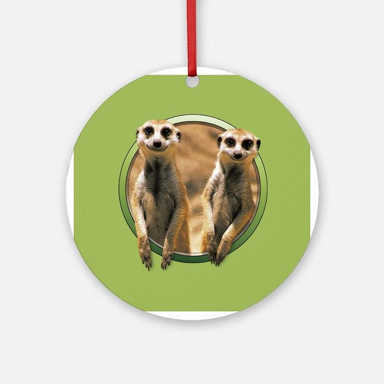 Smiling Meerkats Ornament (Round)