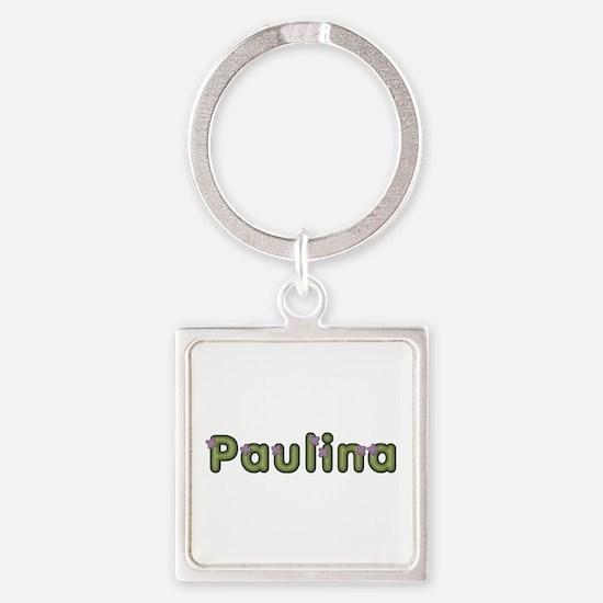 Paulina Spring Green Square Keychain