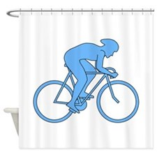 Cycling Design in Blue. Shower Curtain