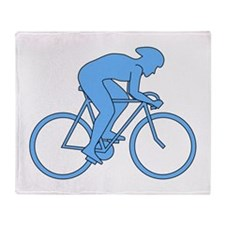 Cycling Design in Blue. Throw Blanket