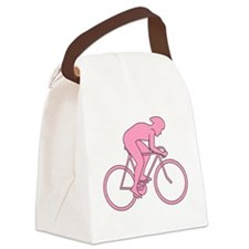 Cycling Design in Pink. Canvas Lunch Bag
