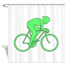 Cycling Design in Green. Shower Curtain