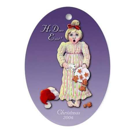 Santa Does Exist Keepsake Oval Ornament