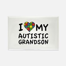 I Love My Autistic Grandson Rectangle Magnet (10 p