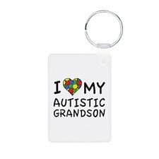 I Love My Autistic Grandson Keychains