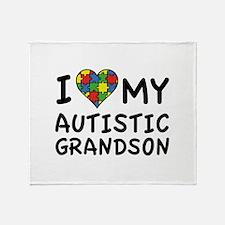 I Love My Autistic Grandson Stadium Blanket