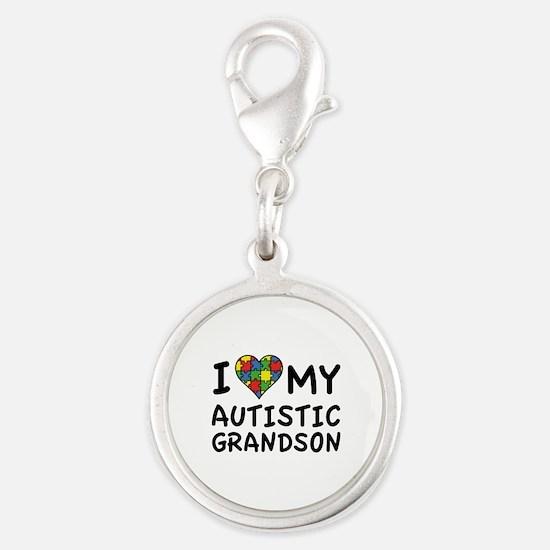 I Love My Autistic Grandson Silver Round Charm