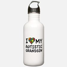 I Love My Autistic Grandson Water Bottle
