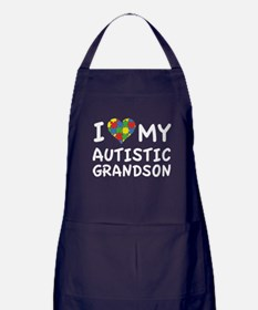 I Love My Autistic Grandson Apron (dark)