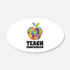 Teach Compassion Oval Car Magnet