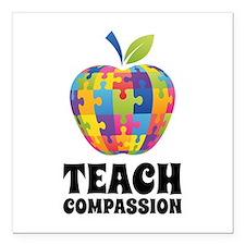 "Teach Compassion Square Car Magnet 3"" x 3"""