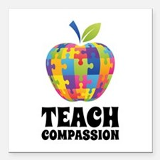"Teach Compassion Square Car Magnet 3"" x 3"""
