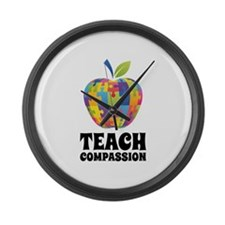Teach Compassion Large Wall Clock