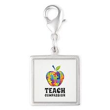 Teach Compassion Silver Square Charm