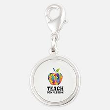Teach Compassion Silver Round Charm