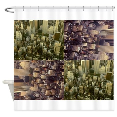 Shower Curtain New York City aerial collage photo
