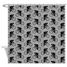 Gray Cycling Pattern. Shower Curtain