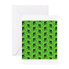 Green Cycling Pattern. Greeting Card