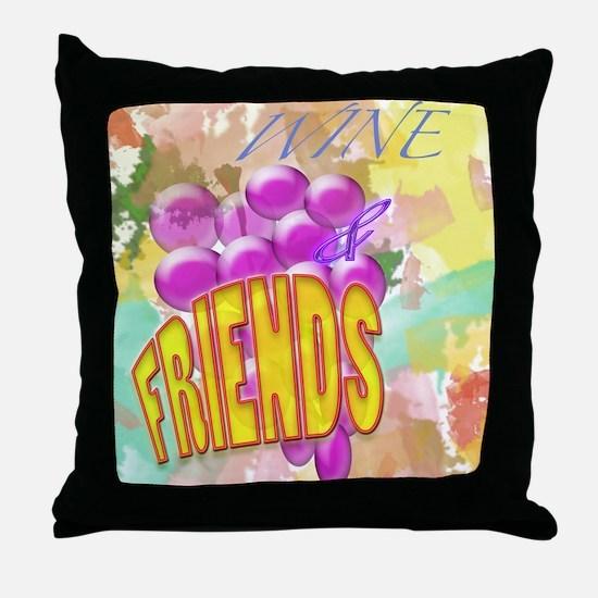 Wine & Friends Throw Pillow