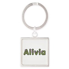 Alivia Spring Green Square Keychain