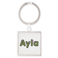 Ayla Spring Green Square Keychain