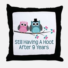 9th Anniversary Owls Throw Pillow