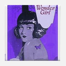 Flapper Girl Purple Art Deco Vintage Tile Coaster