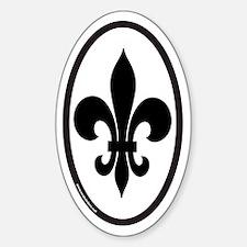 Fleur De Lis Oval Sticker for New Orleans (vert)