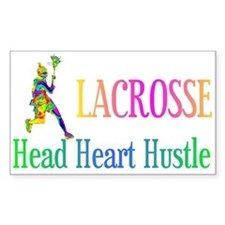 Lacrosse Head Heart Hustle Rectangle Decal