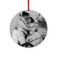 Sailor Girls Kissing Vintage Photo Ornament (Round
