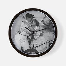 Sailor Girls Kissing Vintage Photo Wall Clock