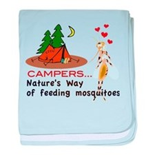 Camping: Campers and Mosquitoes baby blanket