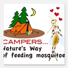 Camping: Campers and Mosquitoes Square Car Magnet
