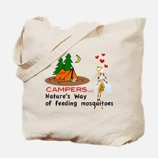 Camping: Campers and Mosquitoes Tote Bag