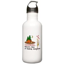 Camping: Campers and Mosquitoes Water Bottle