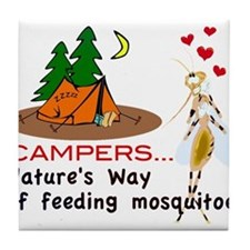 Camping: Campers and Mosquitoes Tile Coaster