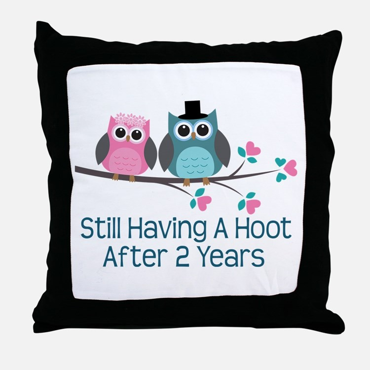 2nd Anniversary Owls Throw Pillow