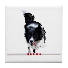 Border Collie jump Tile Coaster