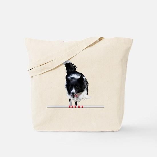 Border Collie jump Tote Bag