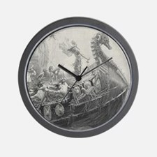 Funny Dragon boat Wall Clock