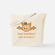 Orange Bat and Text. Tote Bag