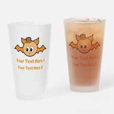 Orange Bat and Text. Drinking Glass