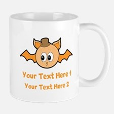 Orange Bat and Text. Mug