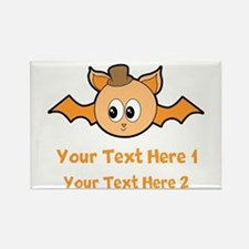 Orange Bat and Text. Rectangle Magnet