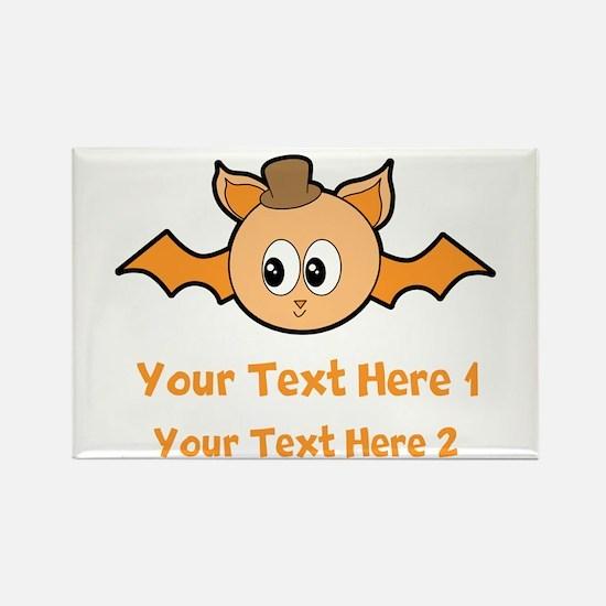 Orange Bat and Text. Rectangle Magnet