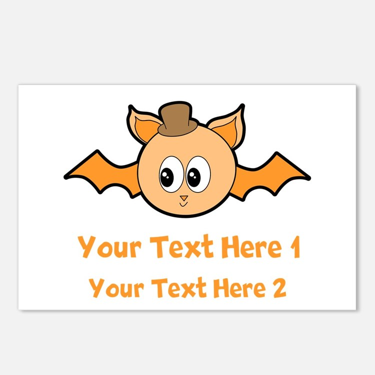 Orange Bat and Text. Postcards (Package of 8)