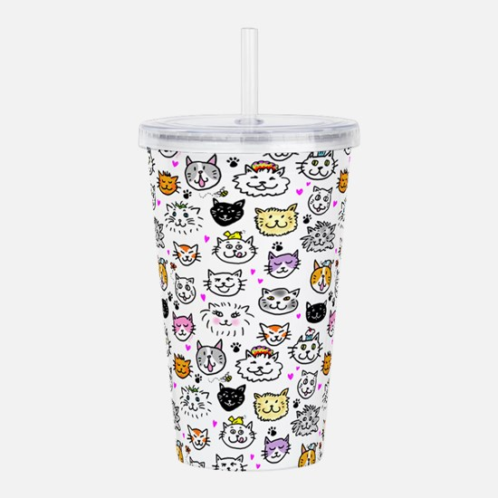Whimsical Cat Faces Pa Acrylic Double-wall Tumbler