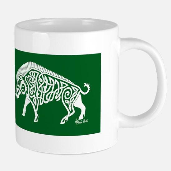 Celtic Knotwork Boar, White on Green Mugs